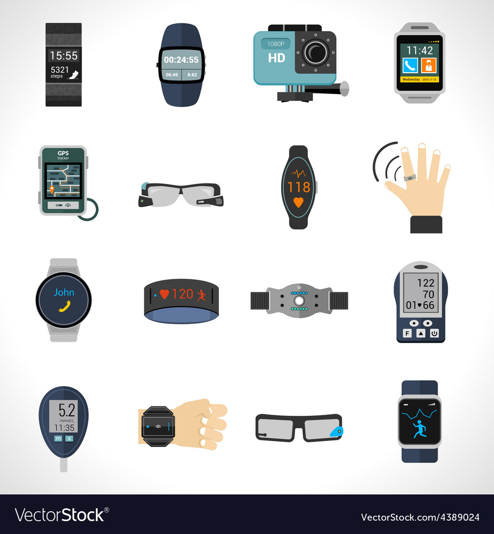 Wearable technology icons vector | Price: 1 Credit (USD $1)