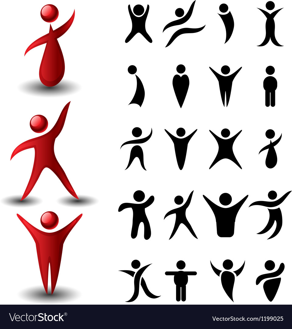 Abstract people symbol set vector | Price: 1 Credit (USD $1)
