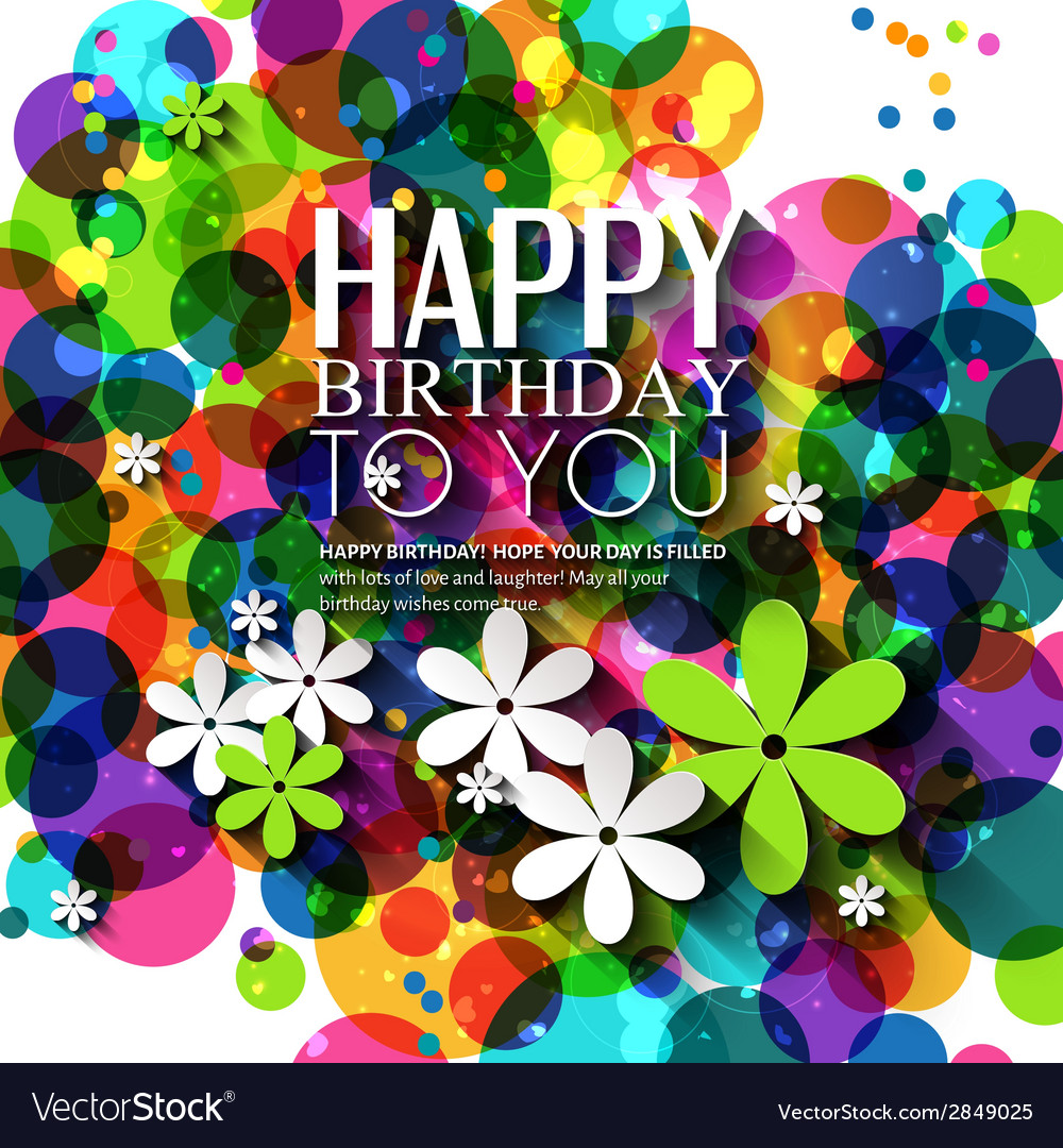 Birthday card with flowers in bright colors on vector | Price: 1 Credit (USD $1)