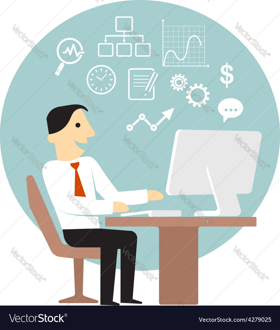 Businessman with computer doing business analysis vector | Price: 1 Credit (USD $1)