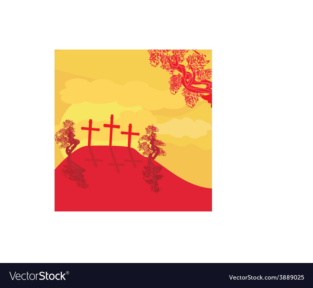 Crosses on a hill at sunset background concept vector | Price: 1 Credit (USD $1)