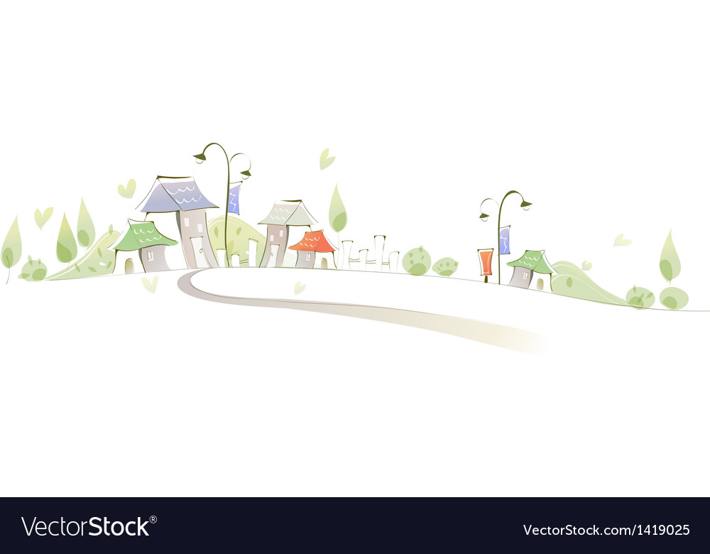 Curved path towards buildings vector | Price: 1 Credit (USD $1)