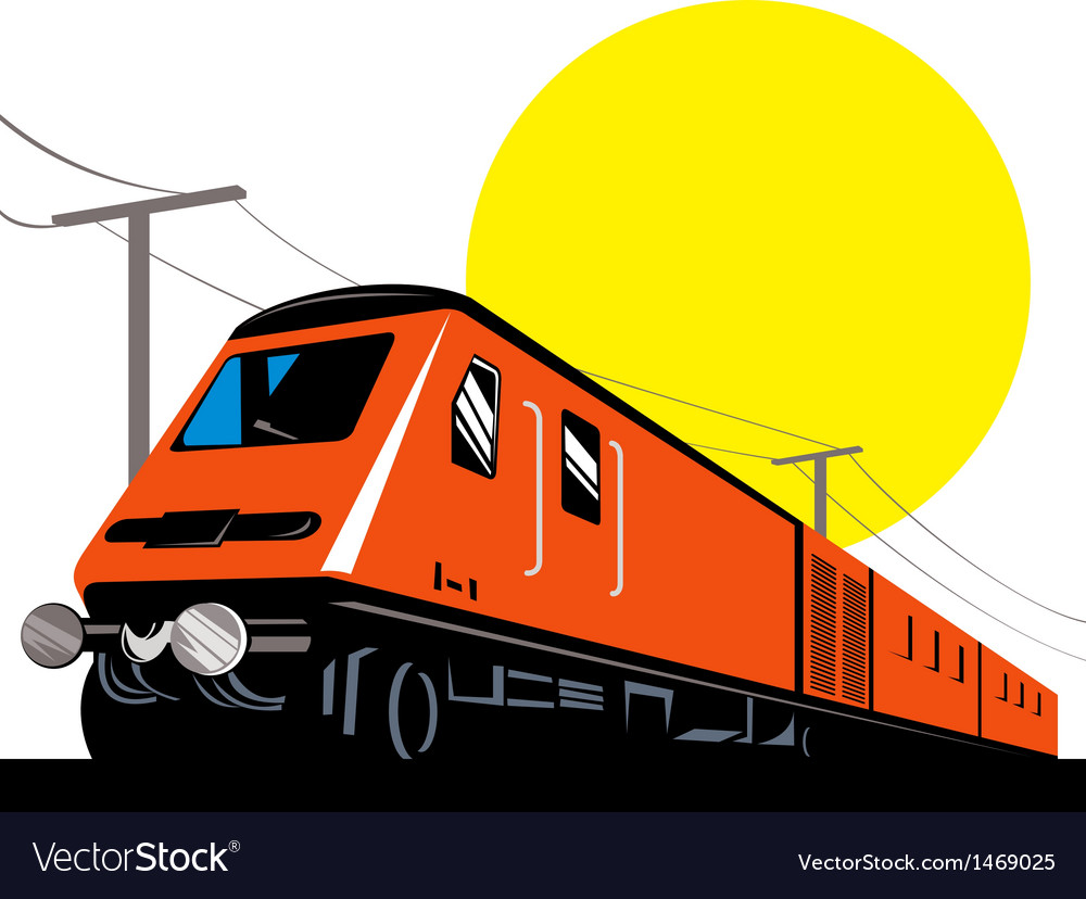 Diesel train locomotive retro vector | Price: 1 Credit (USD $1)