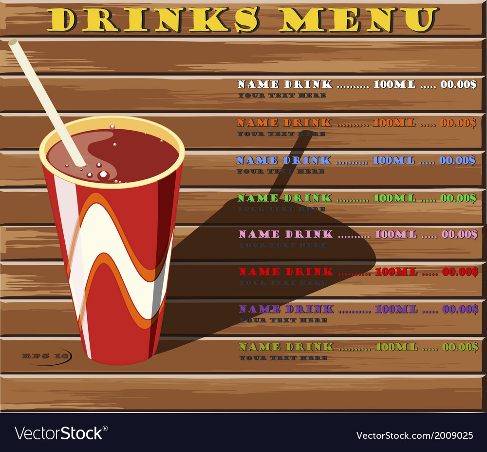 Drinks menu vector | Price: 1 Credit (USD $1)