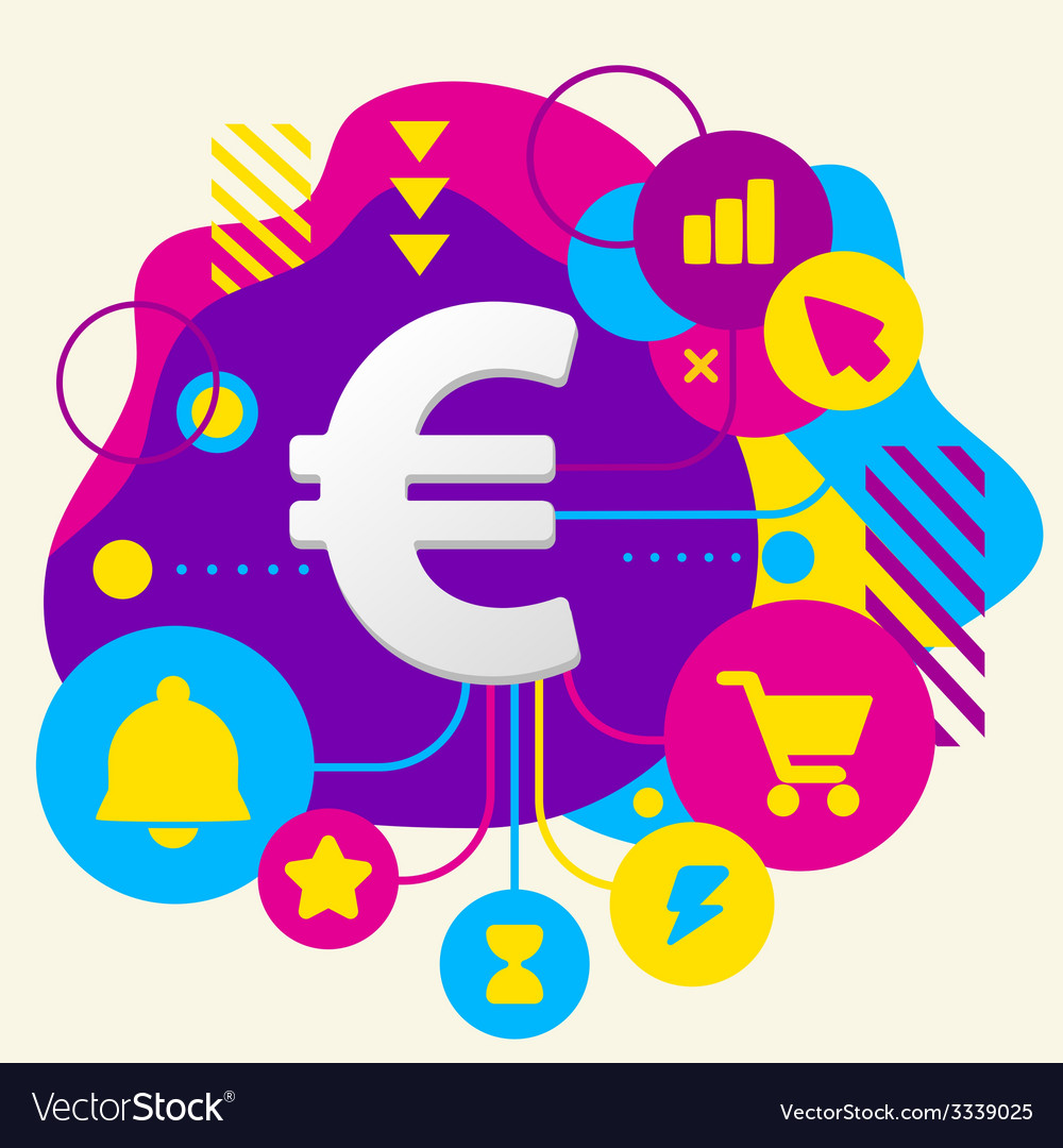 Euro sign on abstract colorful spotted background vector | Price: 3 Credit (USD $3)