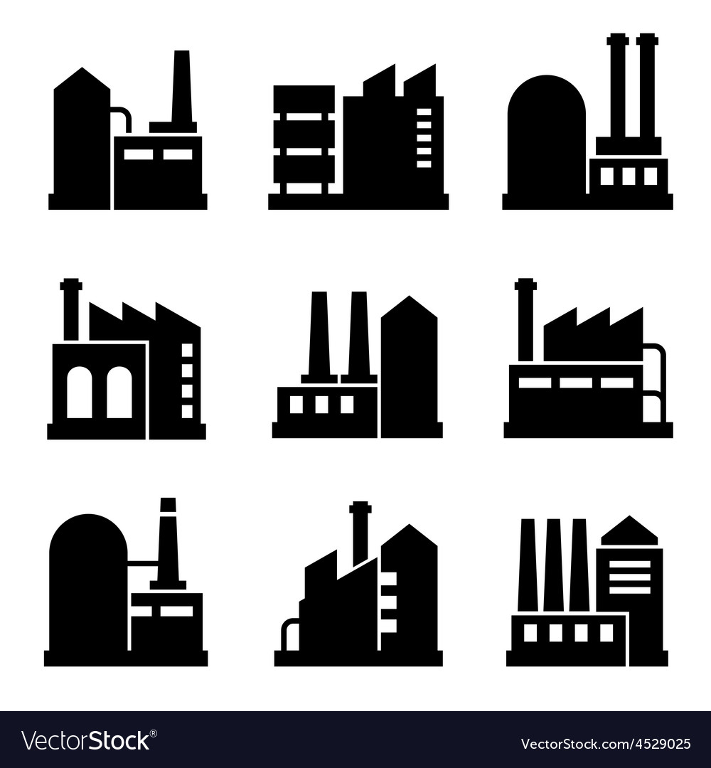 Factory and power industrial building icon set 2 vector | Price: 1 Credit (USD $1)