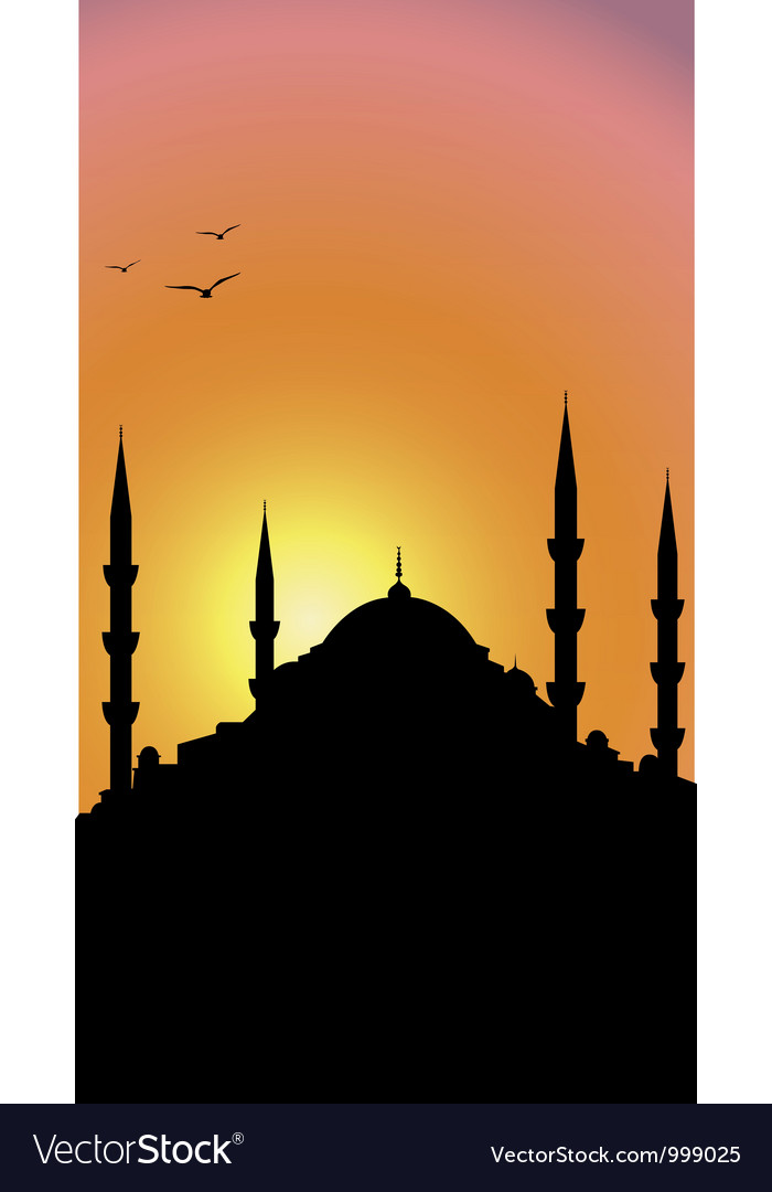 Mosque and sunrise vector | Price: 1 Credit (USD $1)