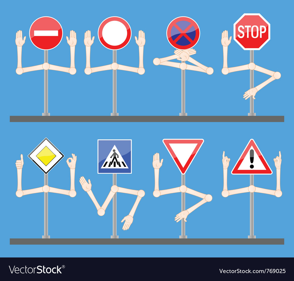 Traffic signs with hands vector   Price: 3 Credit (USD $3)