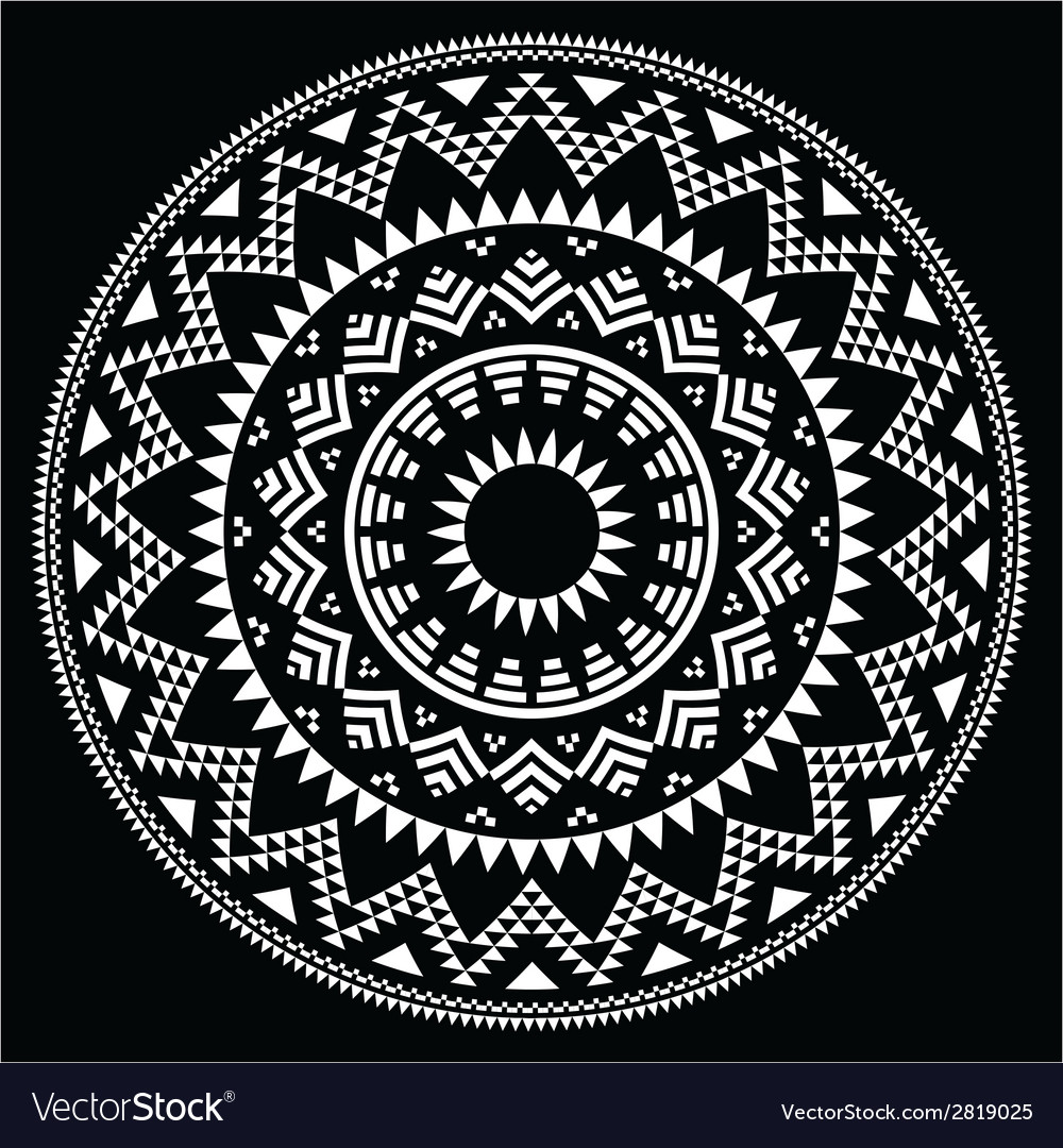 Tribal folk round aztec geometric pattern on black vector | Price: 1 Credit (USD $1)