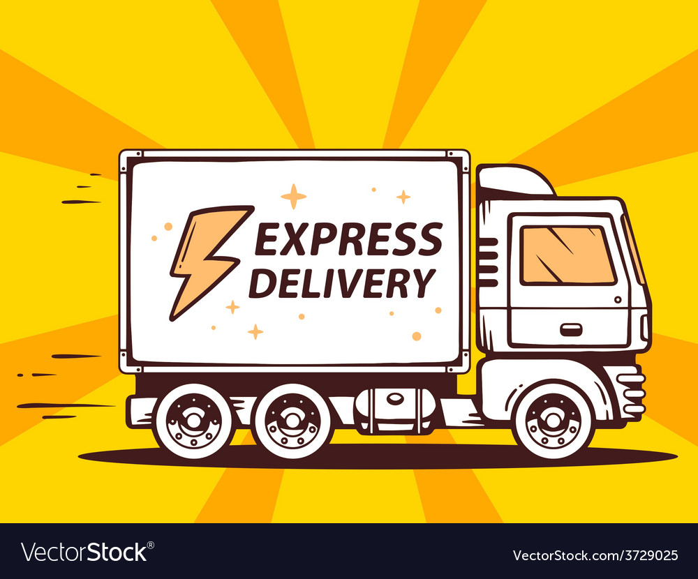 Truck free and fast express delivering to vector | Price: 1 Credit (USD $1)