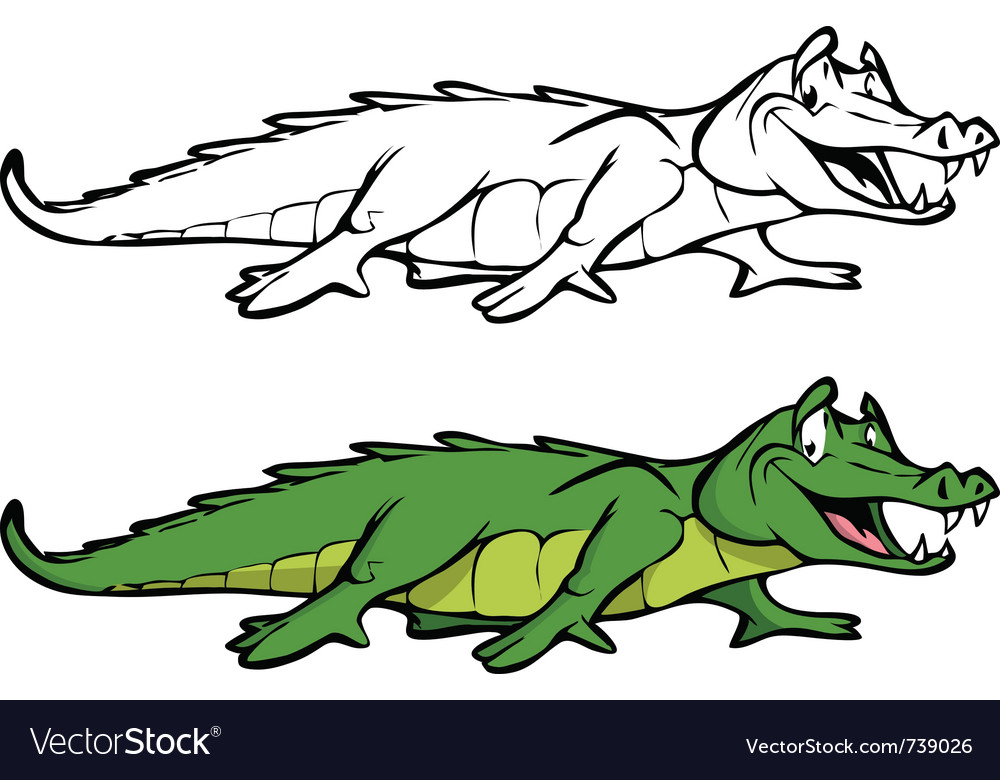 Alligator coloring book vector | Price: 3 Credit (USD $3)