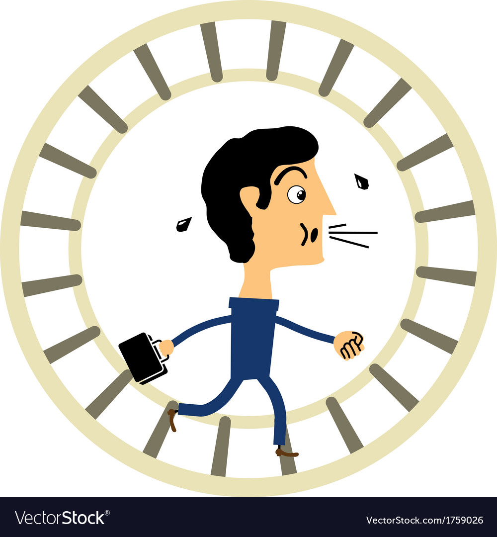 Businessman in a hamster wheel vector | Price: 1 Credit (USD $1)