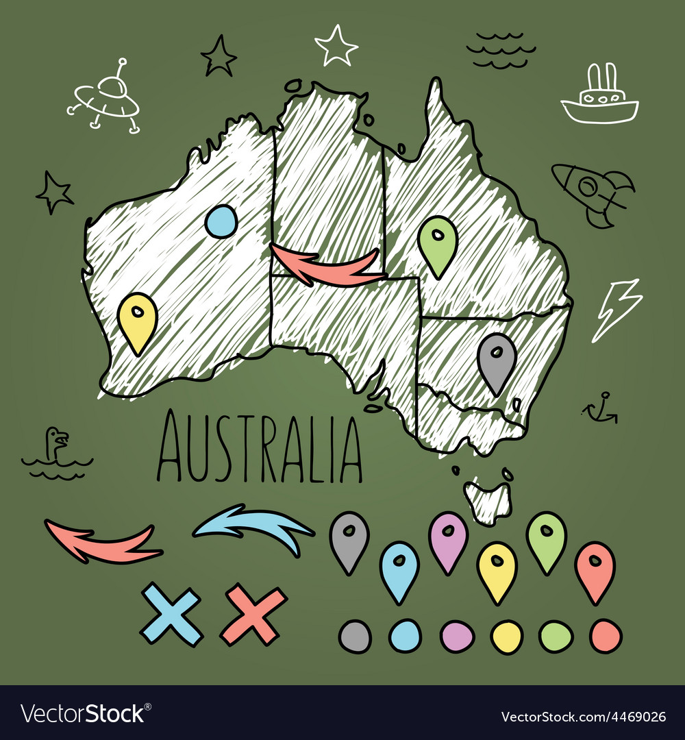 Doodle australia map on green chalkboard with pins vector | Price: 1 Credit (USD $1)
