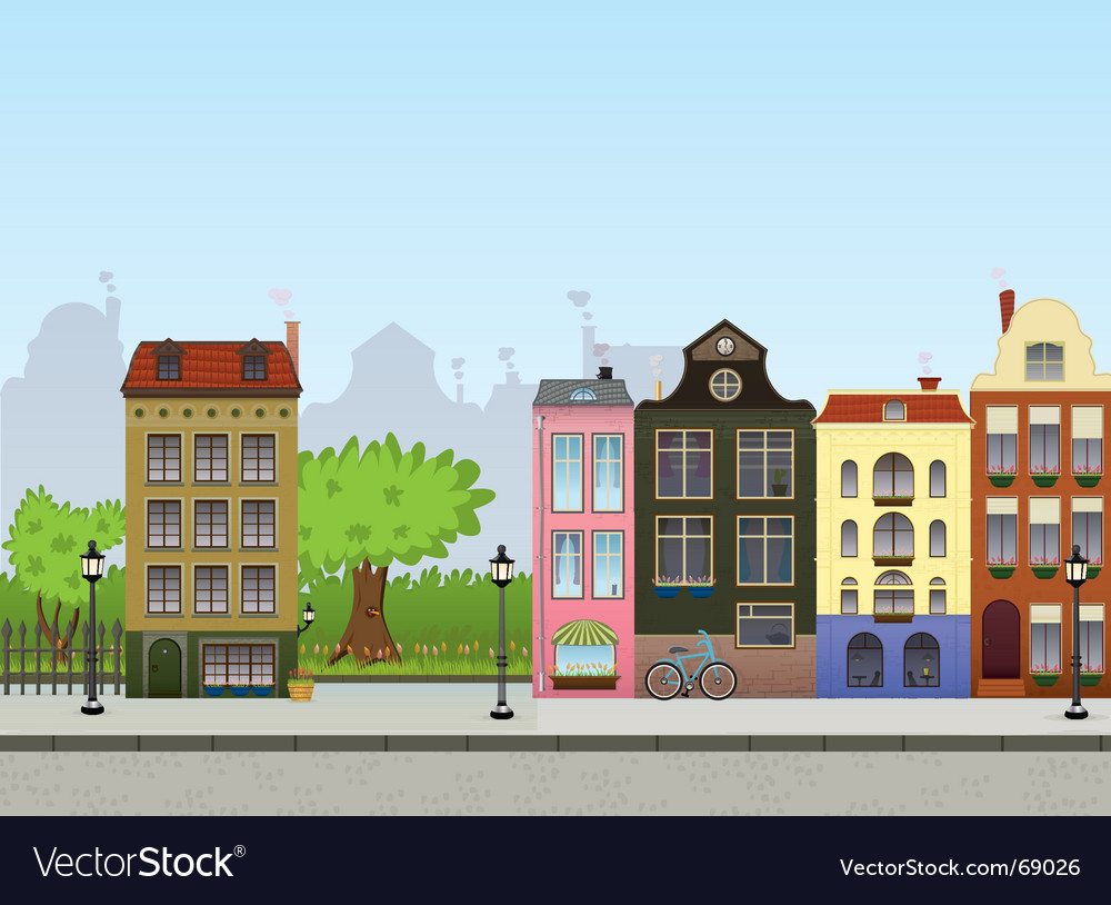 European cityscape vector | Price: 3 Credit (USD $3)