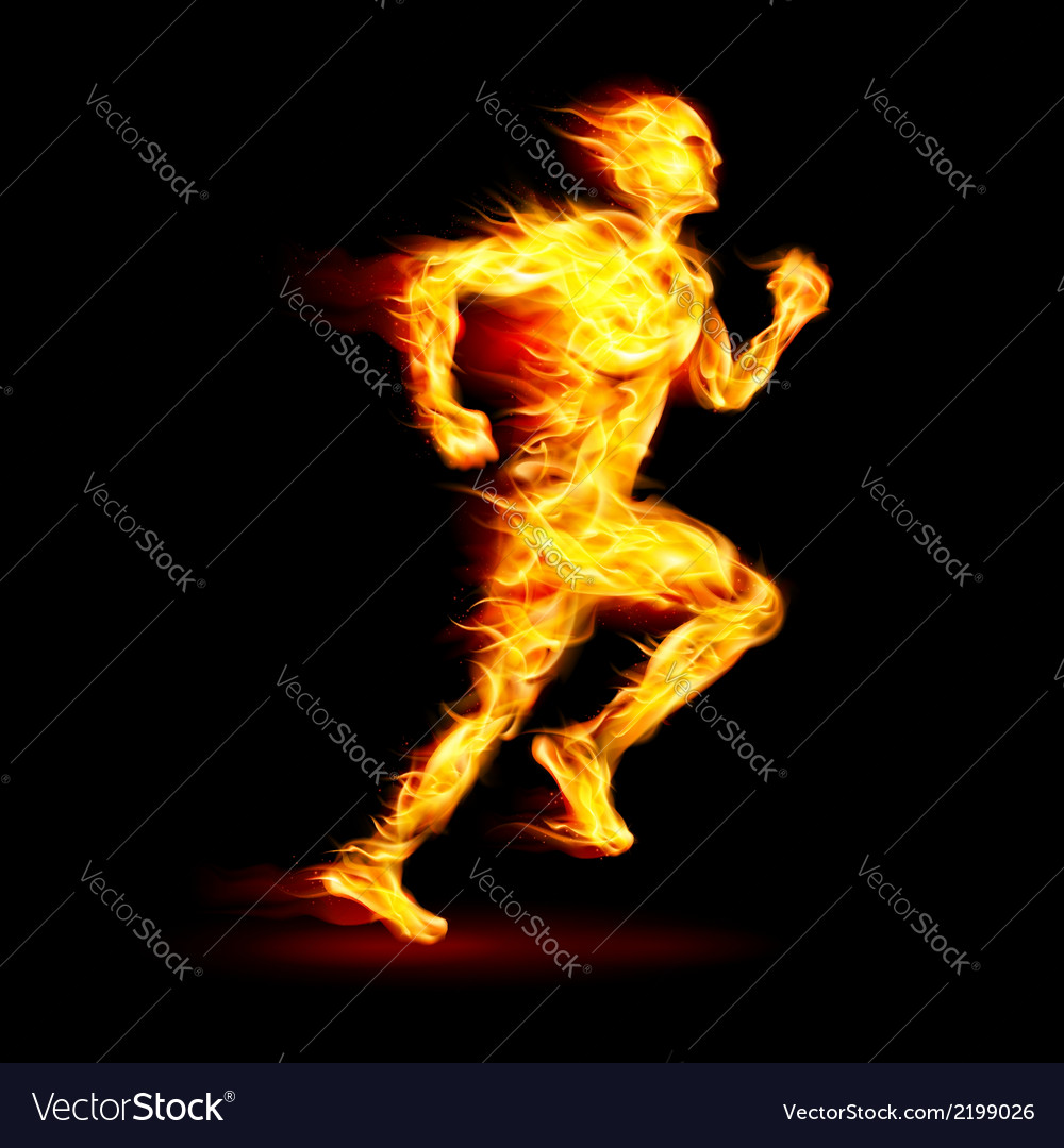 Fiery running man vector | Price: 1 Credit (USD $1)
