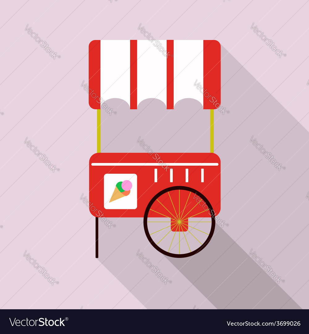 Ice cream cart isolated in pink vector | Price: 1 Credit (USD $1)