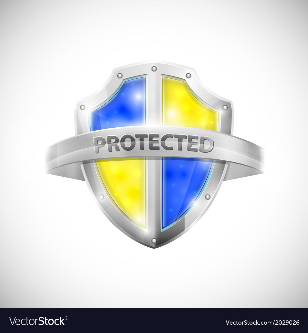 Protection icon with glossy shield vector | Price: 1 Credit (USD $1)
