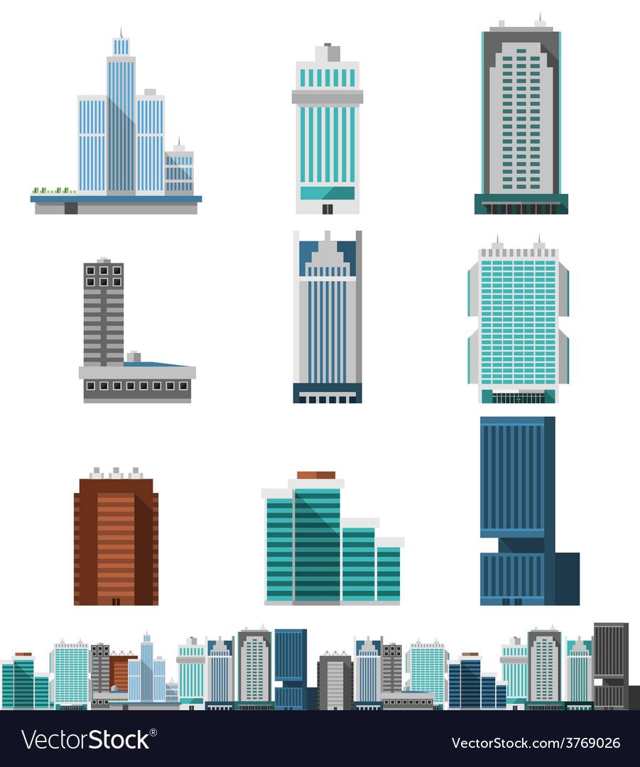 Skyscraper offices set vector | Price: 1 Credit (USD $1)