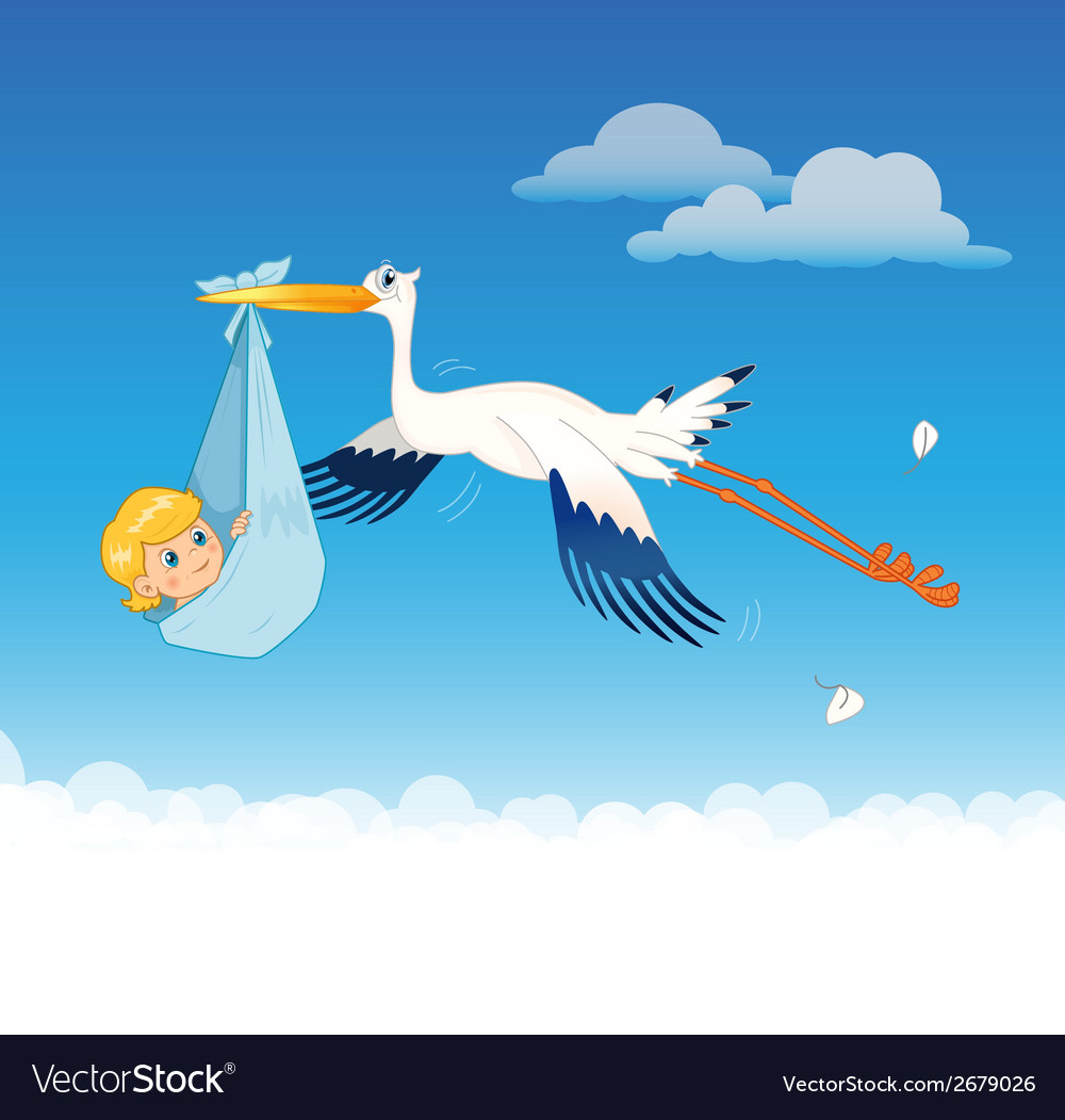 Stork delivering baby vector | Price: 1 Credit (USD $1)