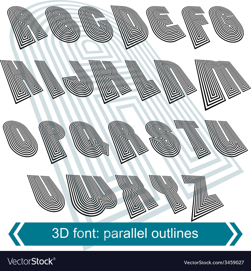 3d retro typeset with lines in rotation uppercase vector | Price: 1 Credit (USD $1)