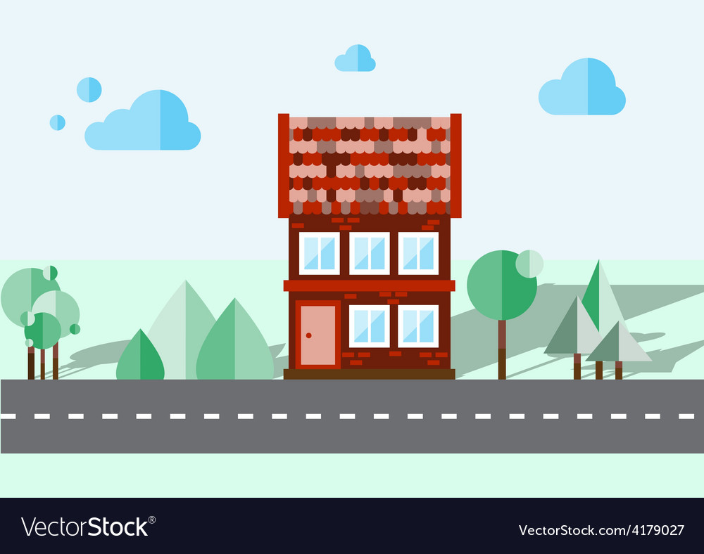Brick house on a blue background vector   Price: 1 Credit (USD $1)