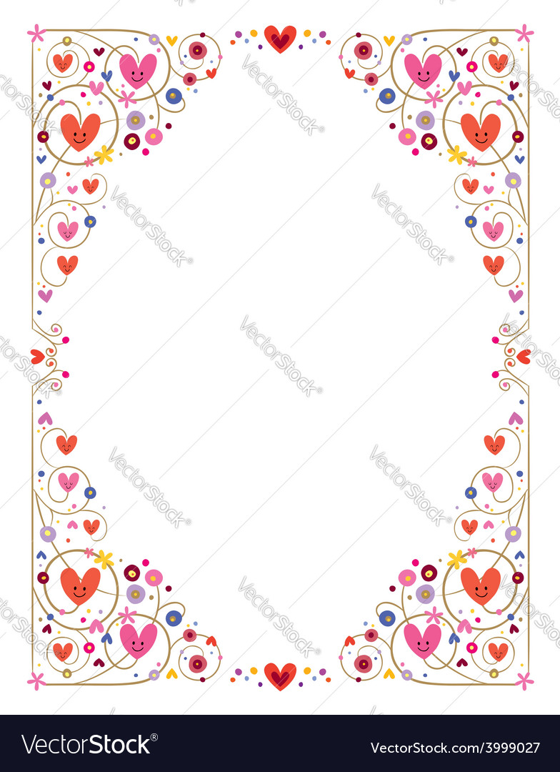 Decorative cute hearts frame vector | Price: 1 Credit (USD $1)