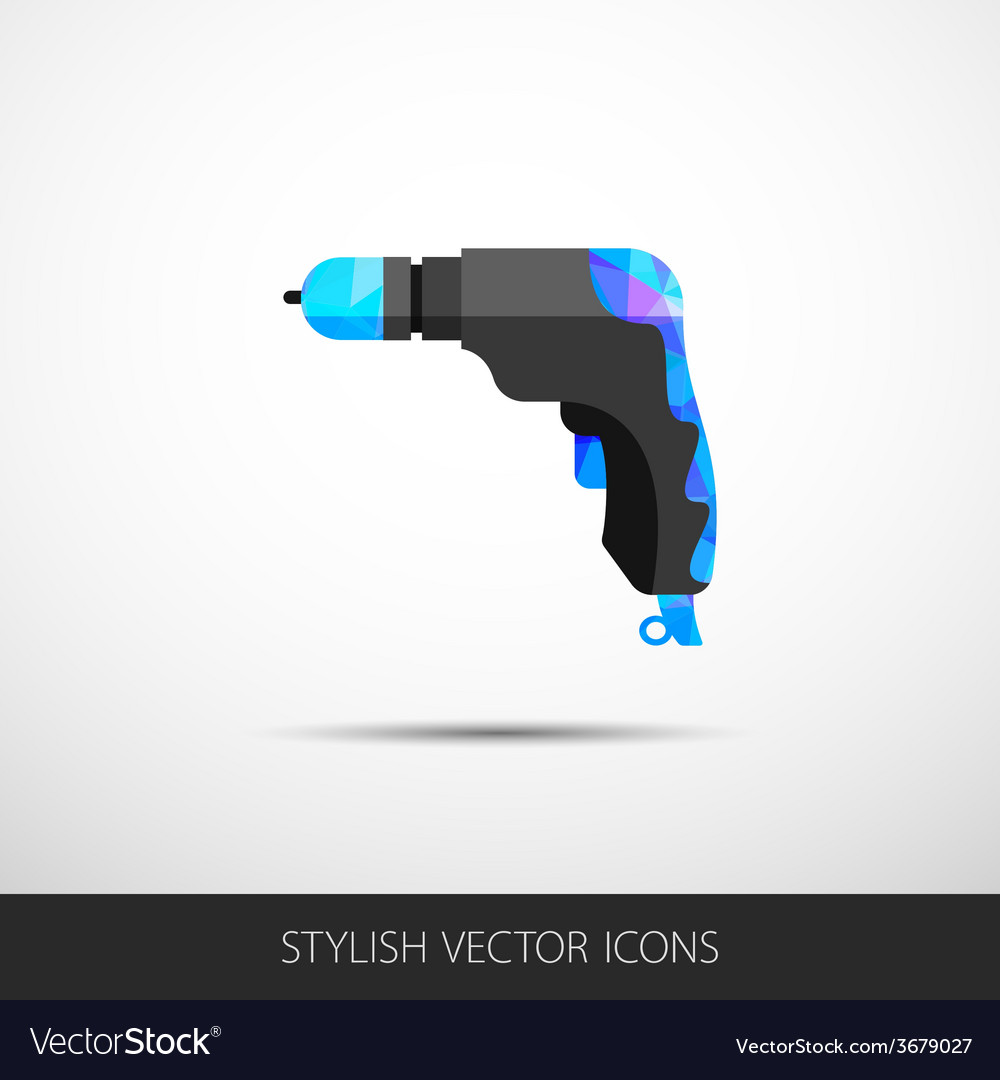 Drill in a flat style with long shadow vector | Price: 1 Credit (USD $1)