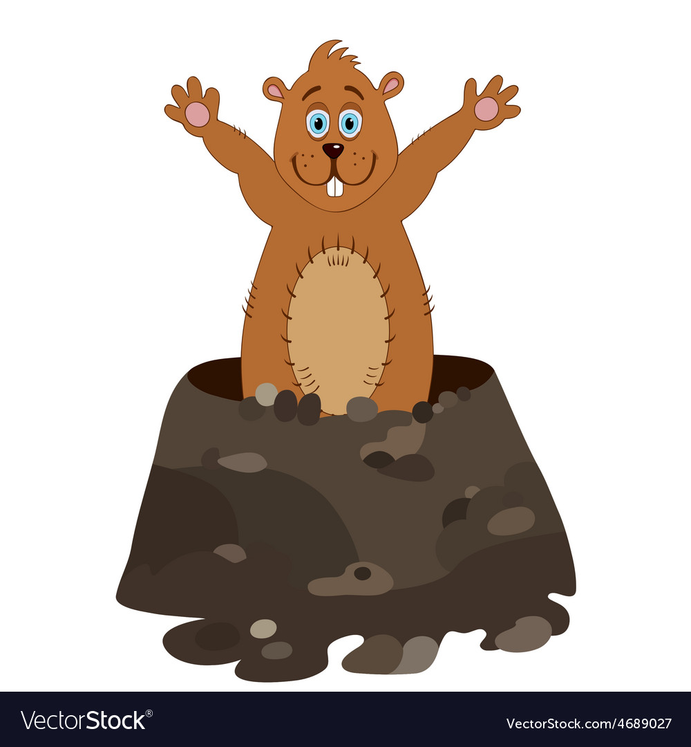 Funny groundhog cartoon vector | Price: 1 Credit (USD $1)