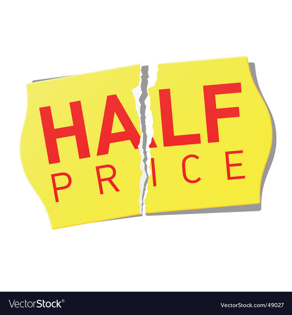 Half price sticker vector | Price: 1 Credit (USD $1)