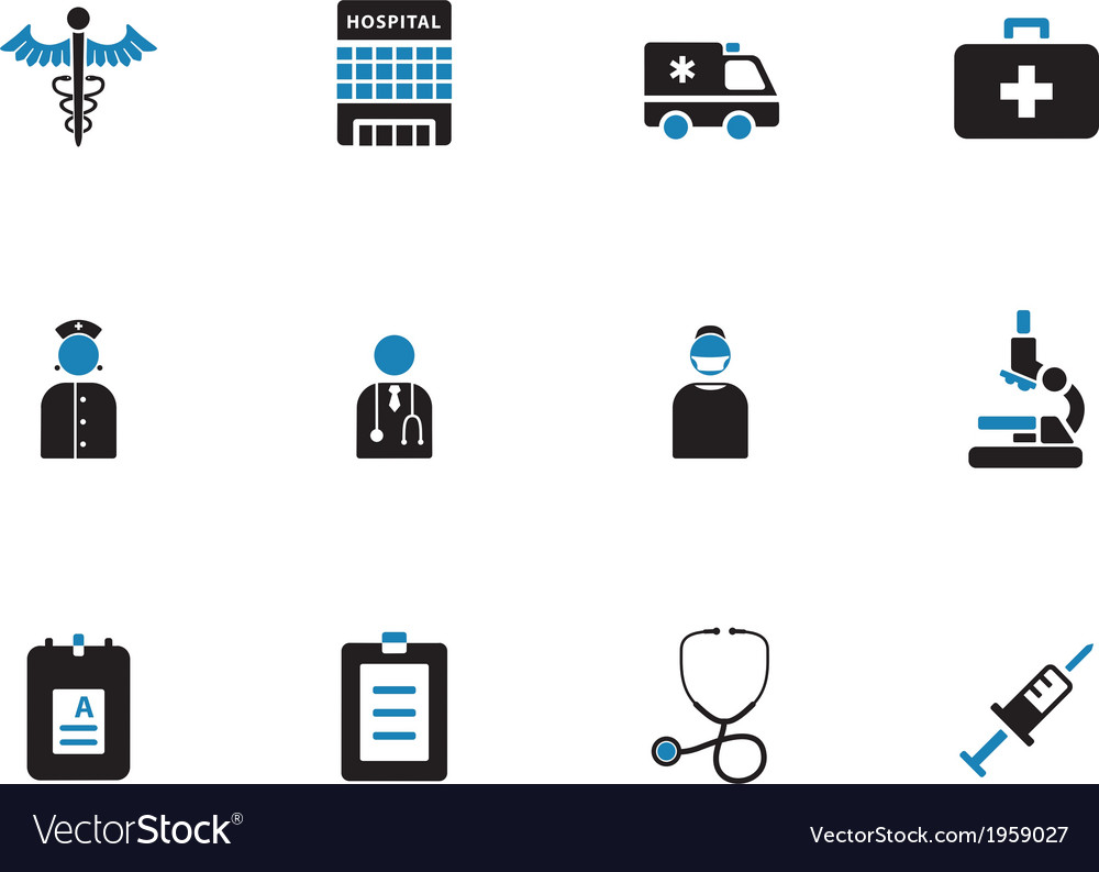 Hospital duotone icons on white background vector | Price: 1 Credit (USD $1)
