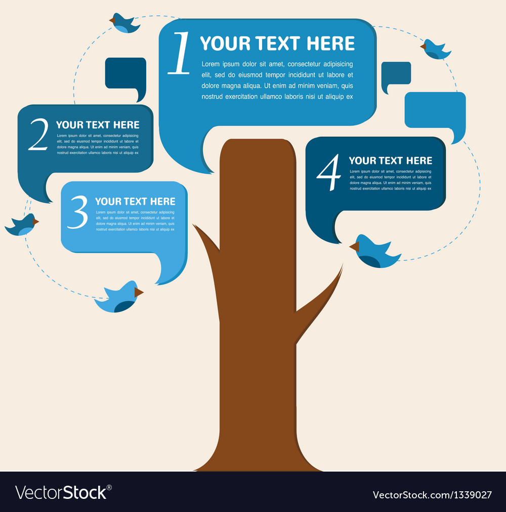 Infographic design speech bubble tree with birds vector | Price: 1 Credit (USD $1)