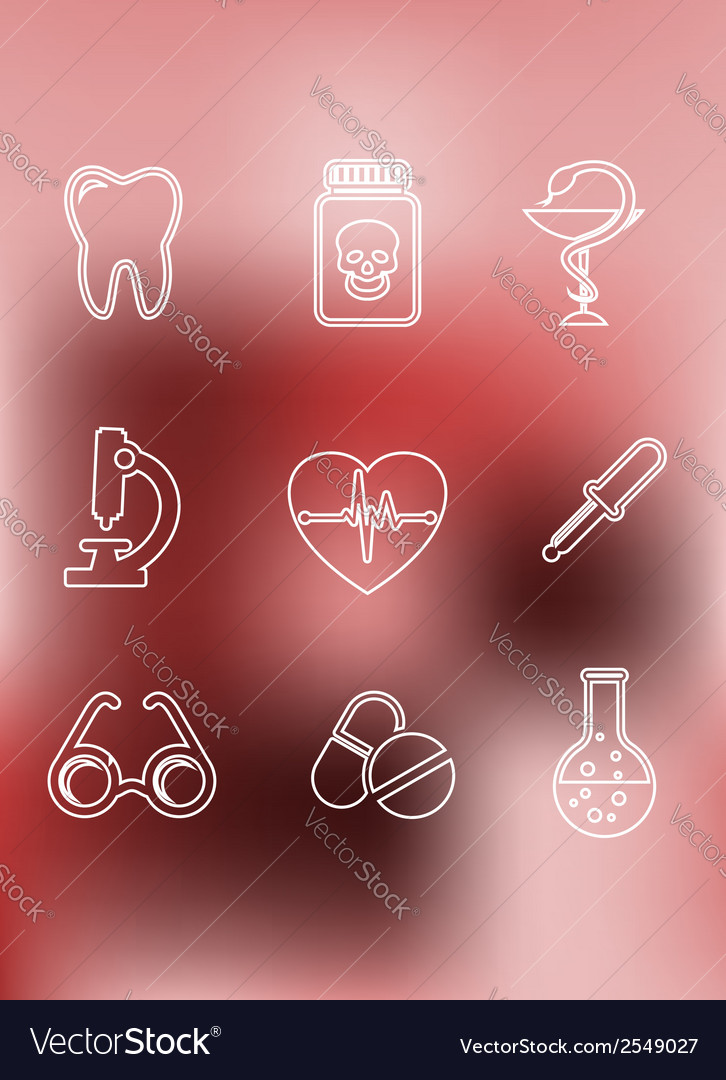 Medical icons in outline style vector | Price: 1 Credit (USD $1)