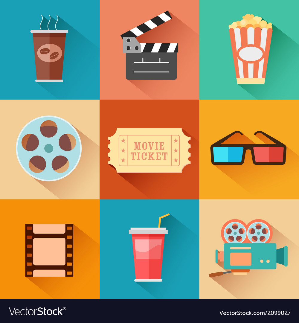 Movie and film icon set vector | Price: 1 Credit (USD $1)