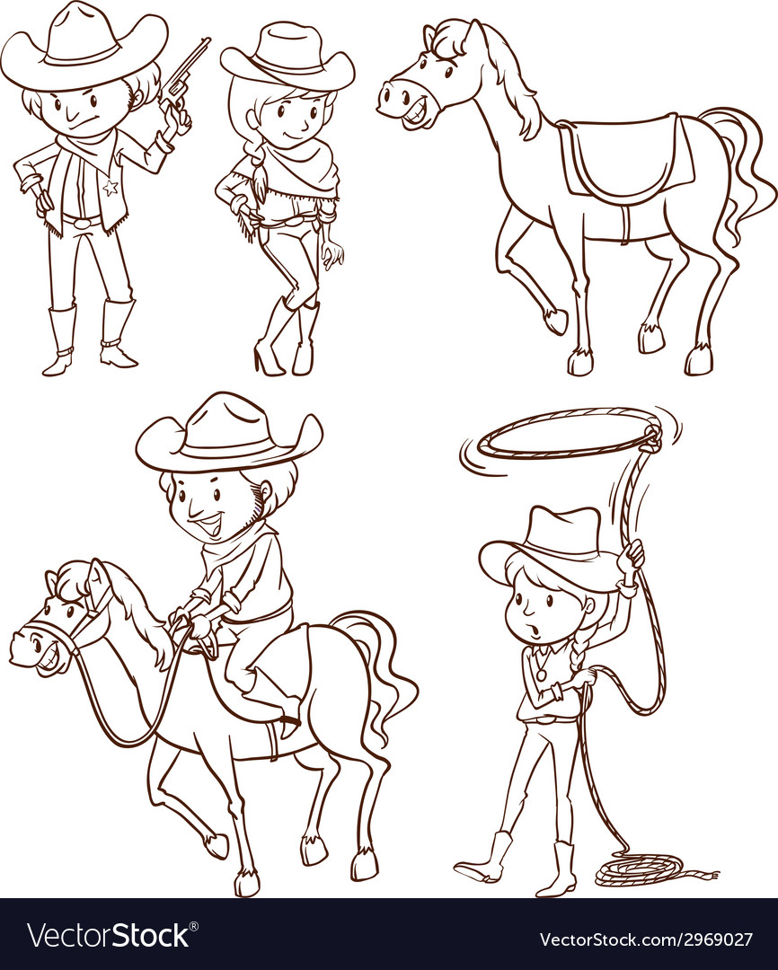 Simple sketches of a cowboy vector | Price: 1 Credit (USD $1)