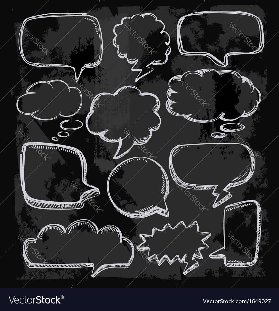 Speech bubbles on chalkboard vector | Price: 1 Credit (USD $1)