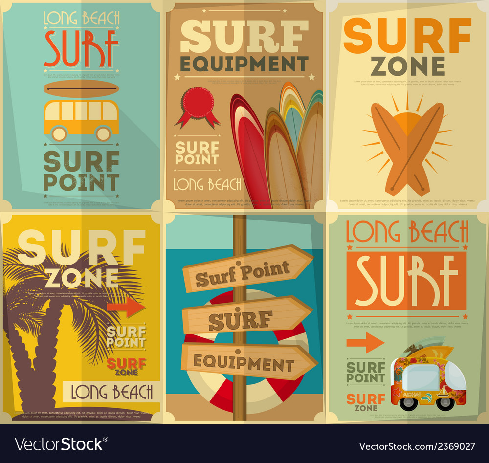 Surf posters vector | Price: 1 Credit (USD $1)