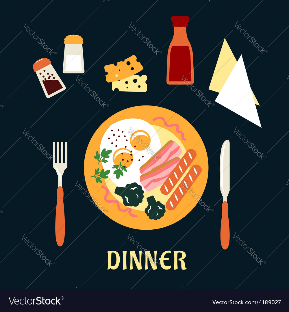 Tasty cooked dinner on a plate vector | Price: 1 Credit (USD $1)