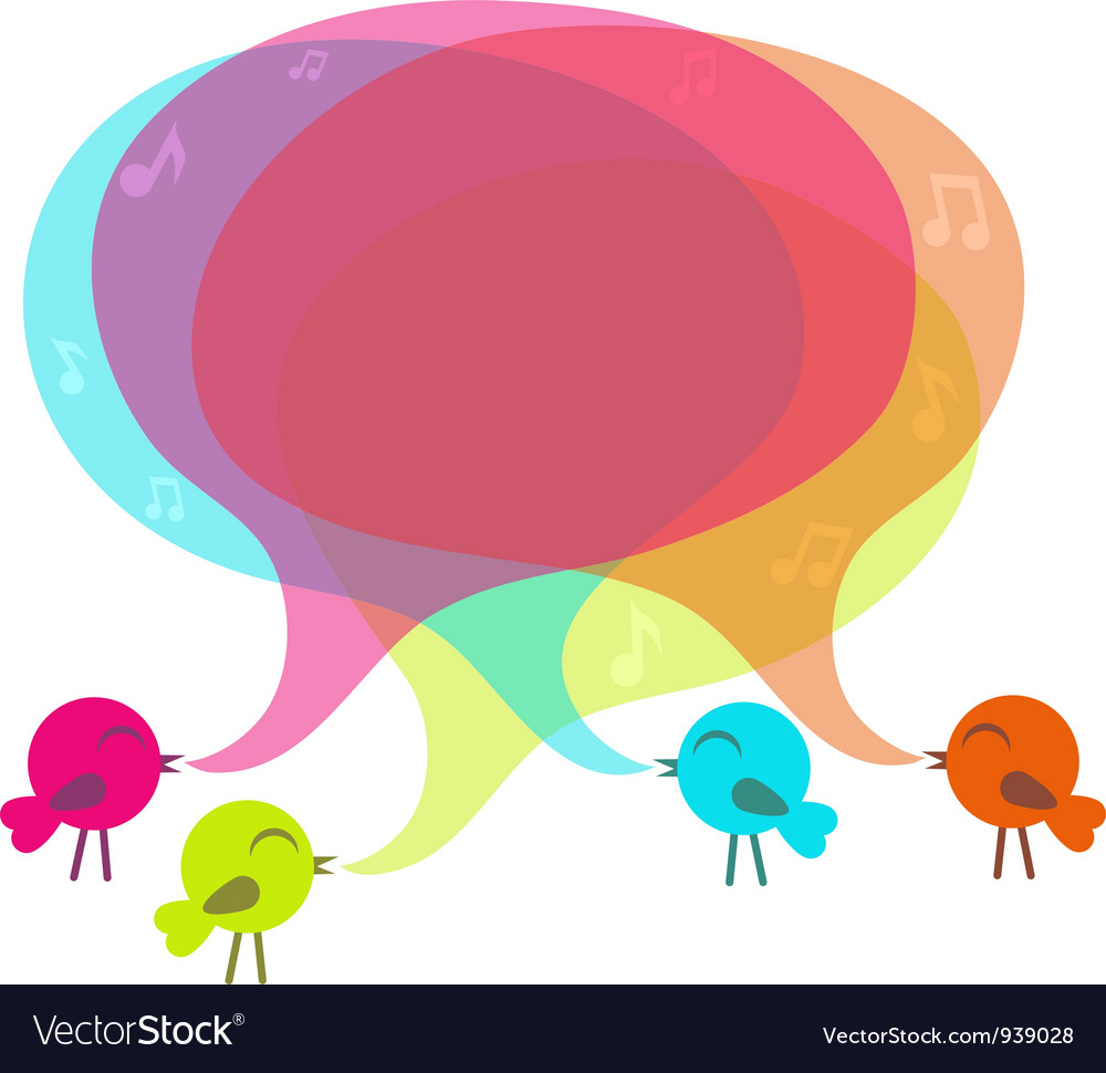 Birds with colorful speech bubble vector | Price: 1 Credit (USD $1)