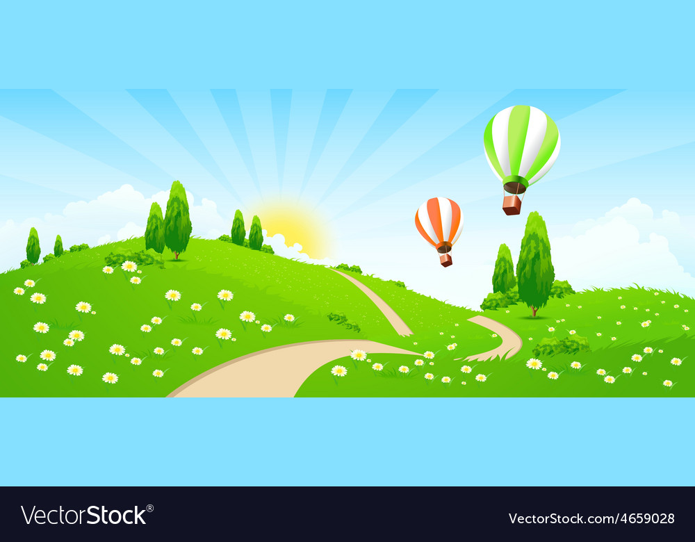 Green landscape with road flowers trees vector | Price: 5 Credit (USD $5)
