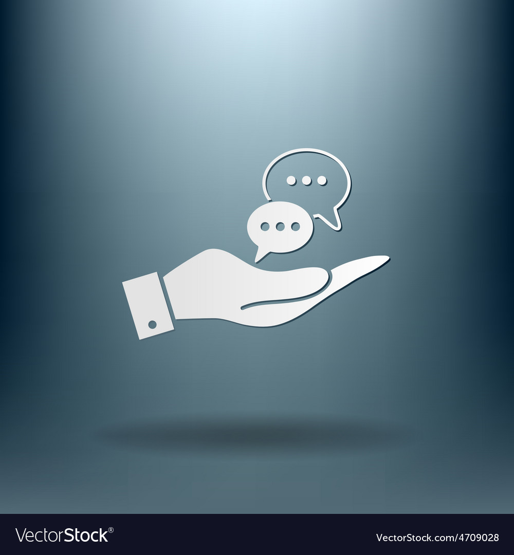 Hand holding a cloud of speaking dialogue vector | Price: 1 Credit (USD $1)