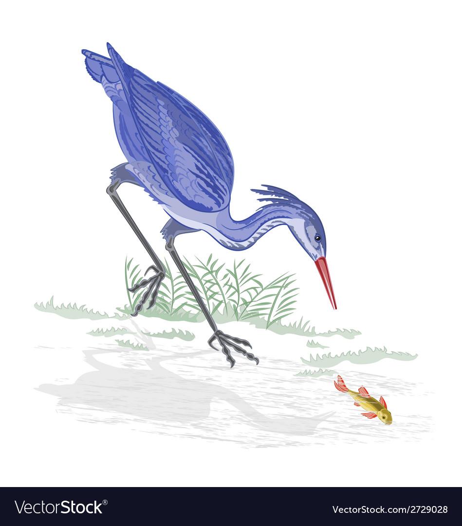 Heron and fish vector | Price: 1 Credit (USD $1)