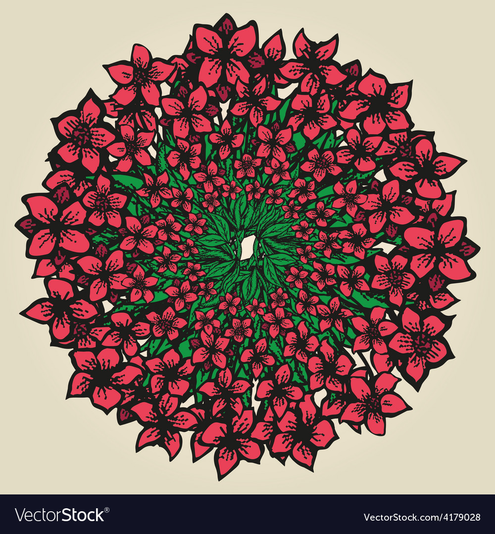 Round floral ornament like bouquet of flowers vector | Price: 1 Credit (USD $1)