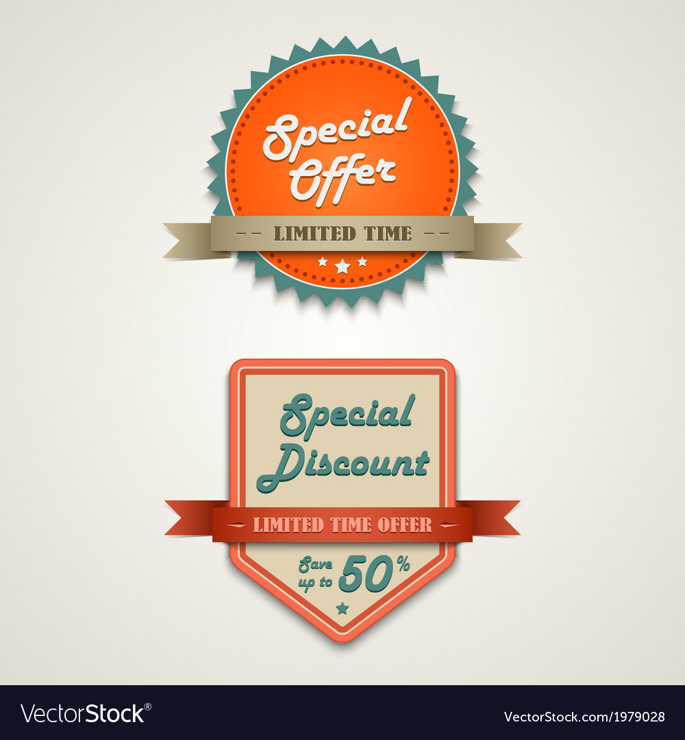 Sale labels vintage retro design style vector | Price: 1 Credit (USD $1)