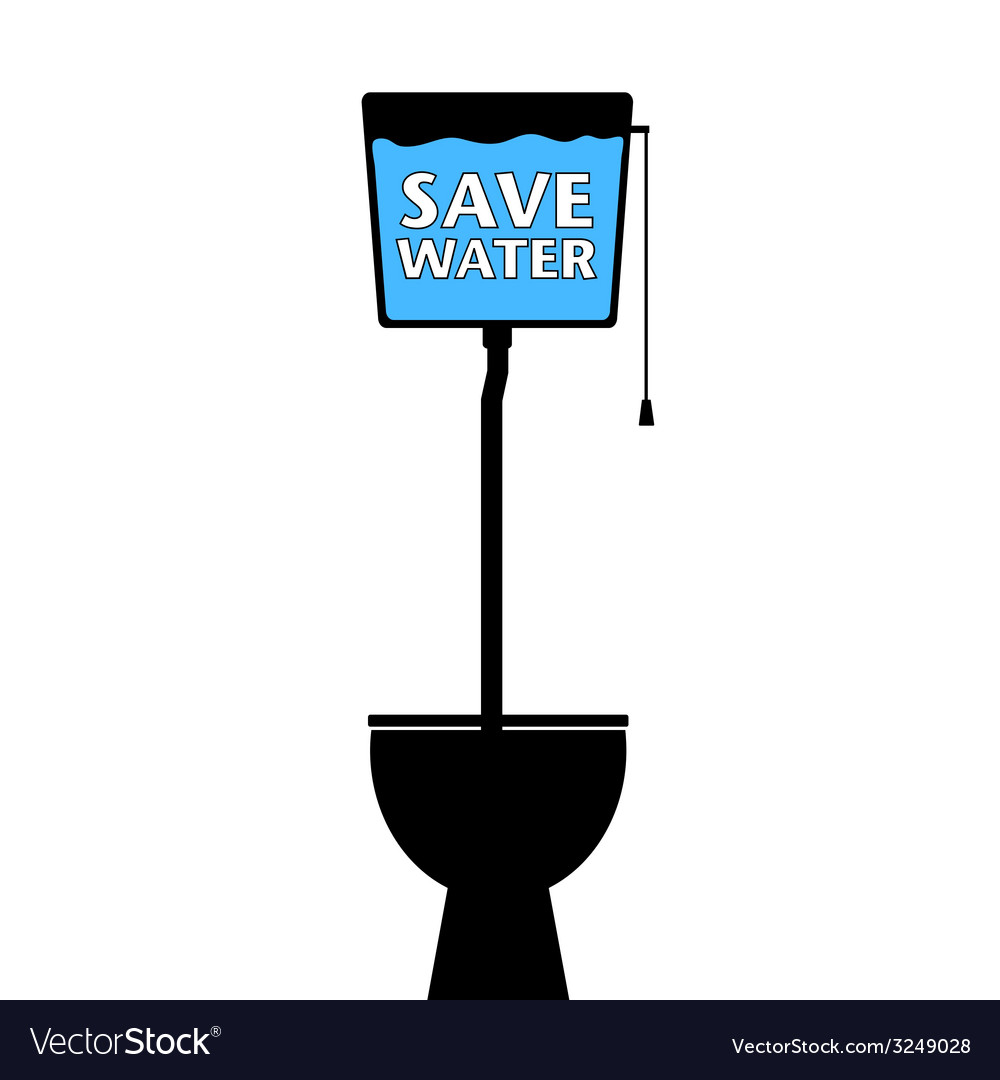 Save water on a toilet vector | Price: 1 Credit (USD $1)