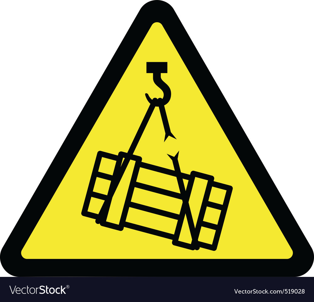 Suspended load hazard sign vector | Price: 1 Credit (USD $1)