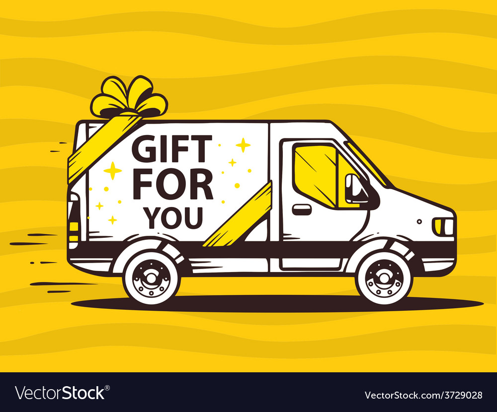 Van free and fast delivering gift to cust vector | Price: 1 Credit (USD $1)