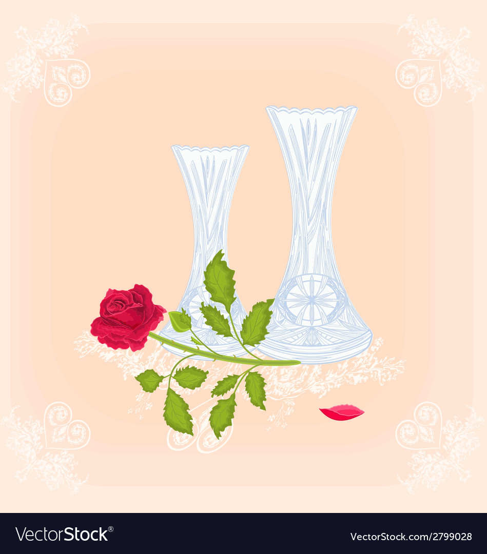 Vases and rose as engraving vintage vector | Price: 1 Credit (USD $1)