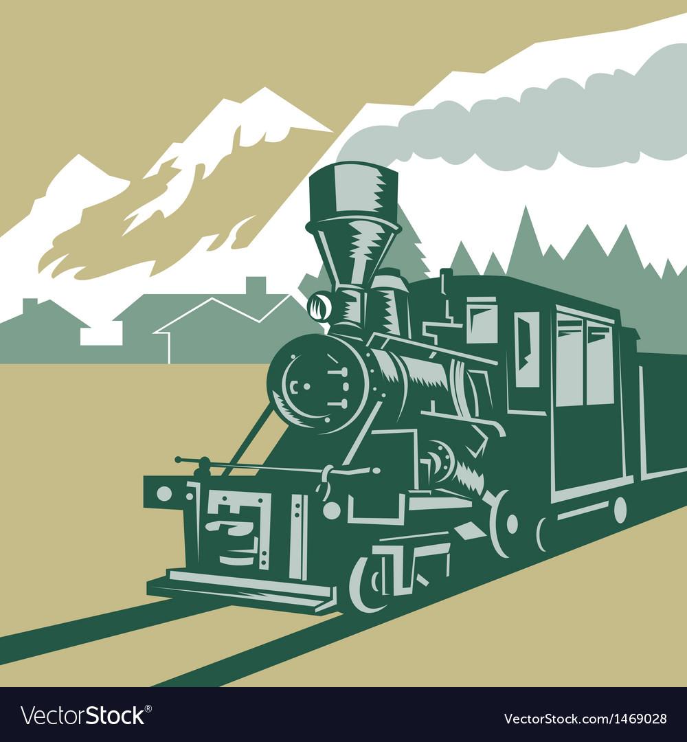 Vintage steam train locomotive vector | Price: 1 Credit (USD $1)