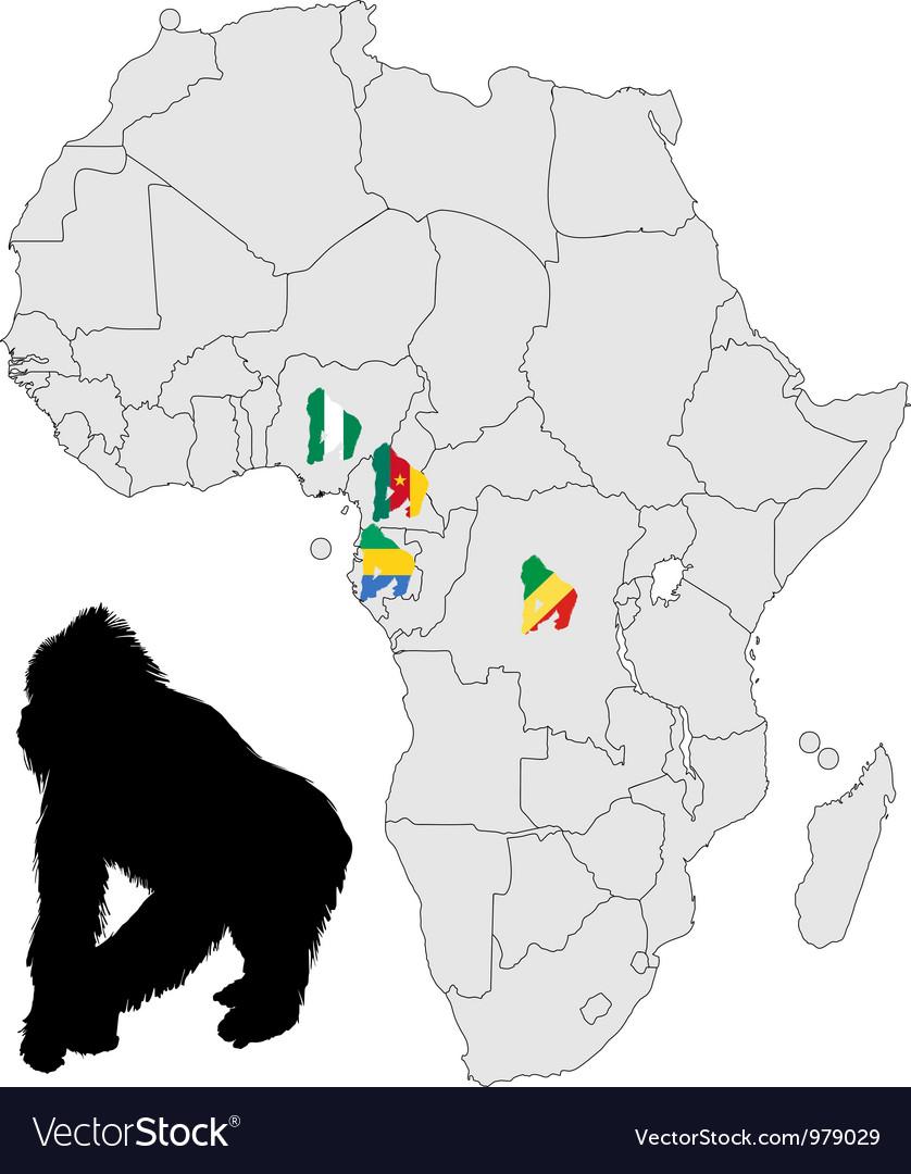 Africa gorilla range vector   Price: 1 Credit (USD $1)