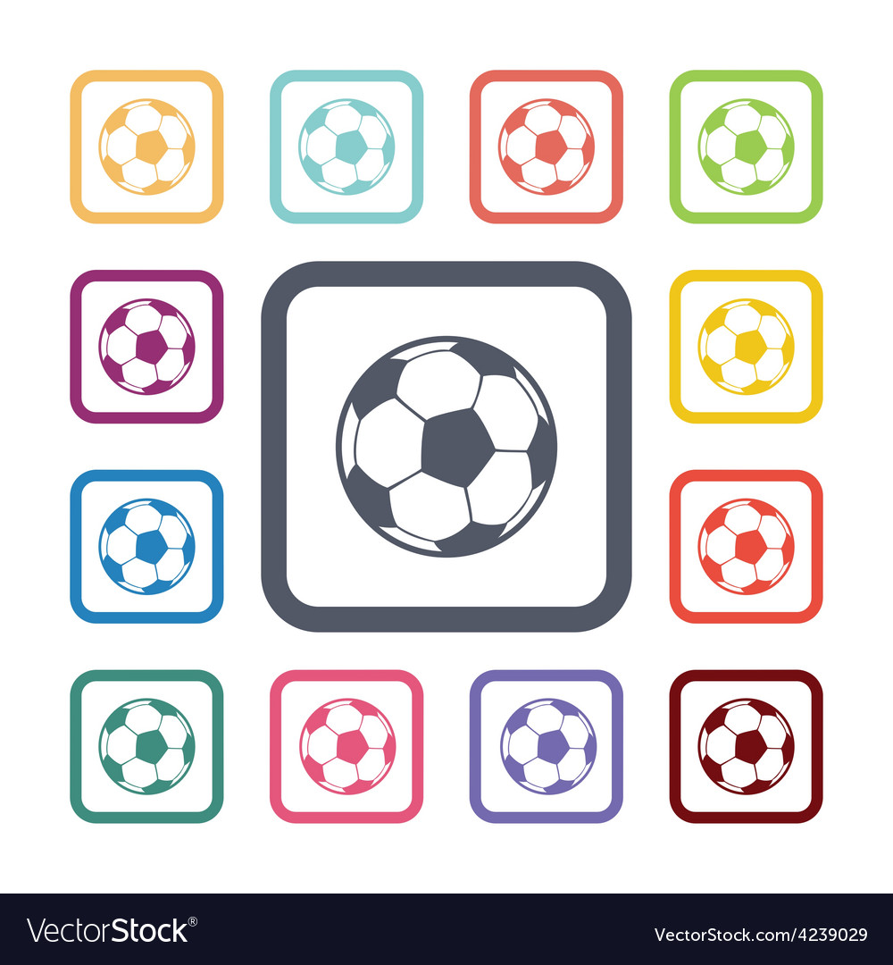 Ball flat icons set vector | Price: 1 Credit (USD $1)